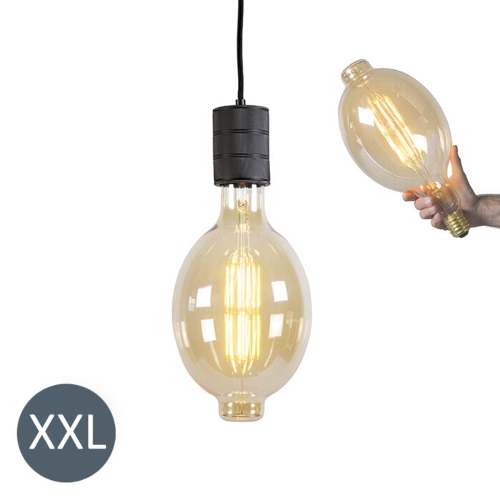 Висяща-лампа-Колизеум-черна-с-димируема-LED-лампа