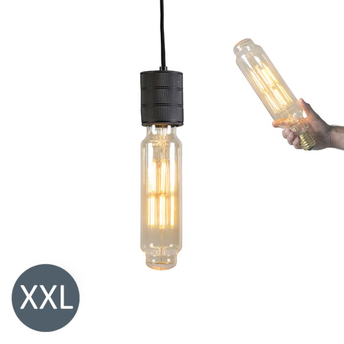Висяща-лампа-Tower-черна-с-димируема-LED-лампа