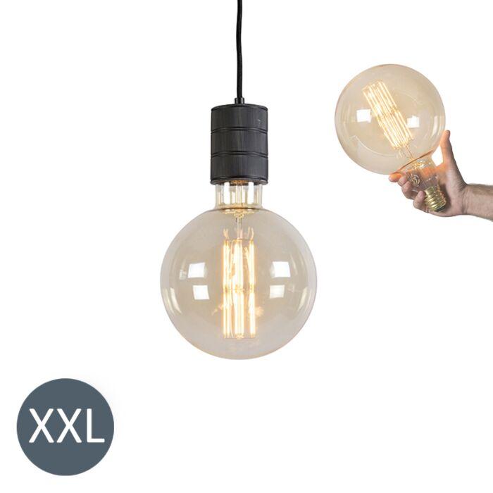 Висяща-лампа-Megaglobe-черна-с-димируема-LED-лампа