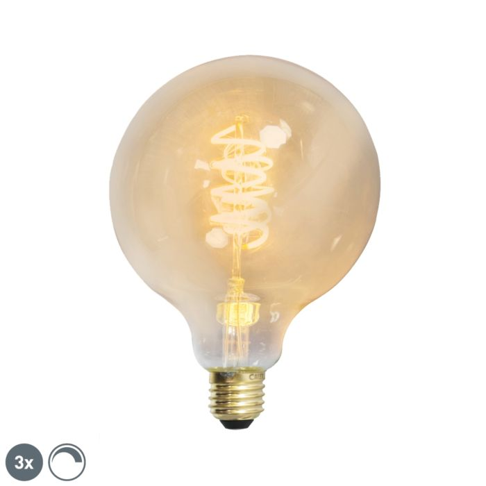 Комплект-от-3-E27-димируеми-LED-усукани-нишки-G125-златна-линия