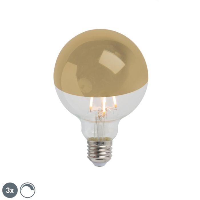 Комплект-от-3-E27-димируеми-LED-полуогледала-G95-злато-280lm-2300K