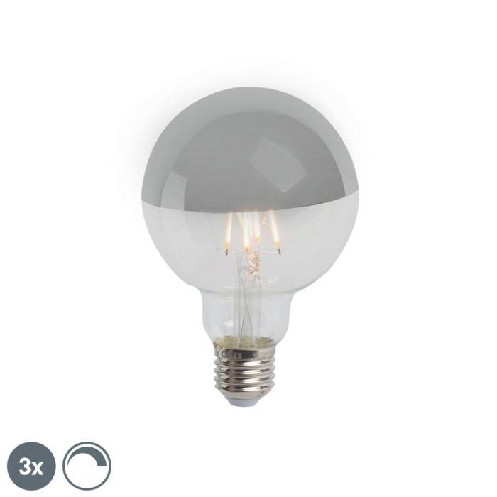 Комплект-от-3-E27-димируеми-LED-полуогледала-G95-сребро-280lm-2300K