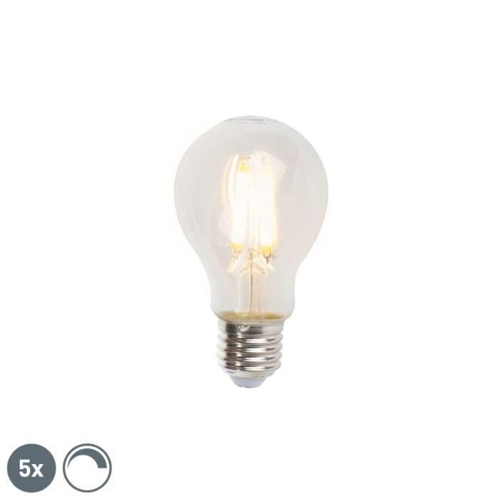 Комплект-от-5-E27-димируеми-LED-лампи-с-нажежаема-жичка-A60-7W-806lm-2700K