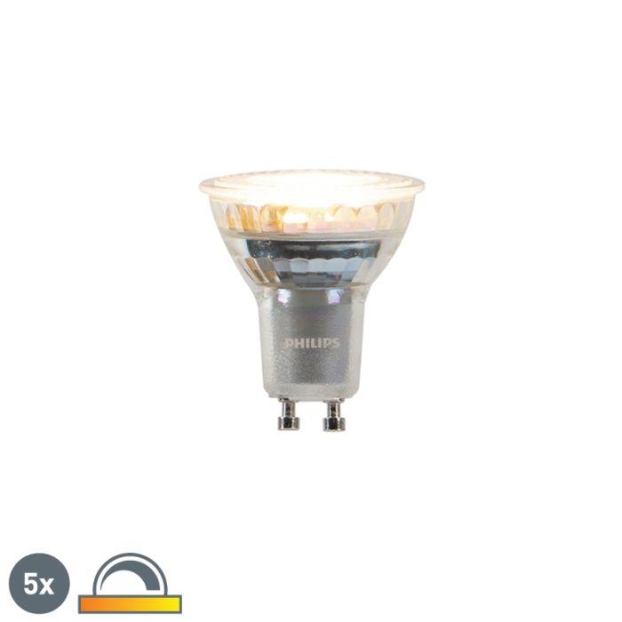 Комплект-от-5-GU10-приглушени-за-затопляне-LED-лампи-Philips-3.7W-260-lm