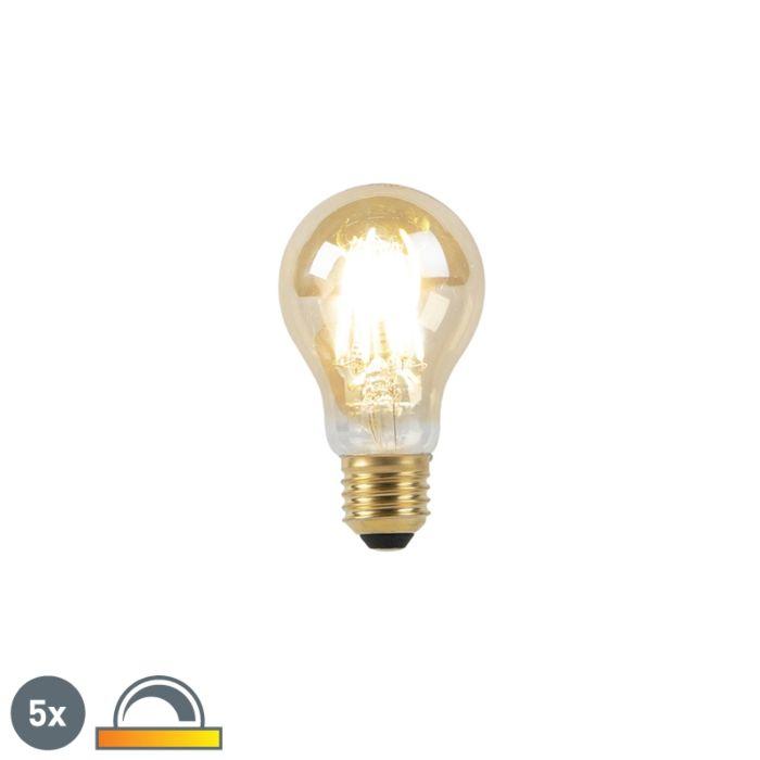 Комплект-от-5-E27-LED-лампи-8W-2000-2600K-затъмнени-към-топла-златна-нишка