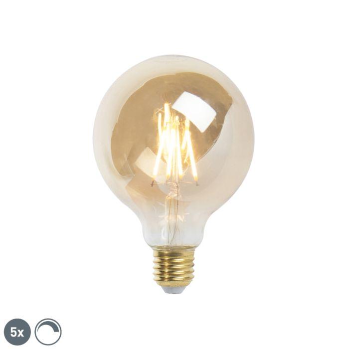 Комплект-от-5-E27-димируема-LED-лампа-с-нажежаема-жичка-9,5-см-5W-360-лумена-2200К