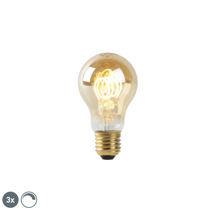 Комплект-от-3-E27-димируеми-LED-лампи-златни-4W-200-lm-2200K