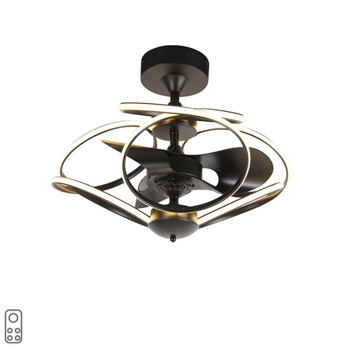 Дизайнерски-вентилатор-за-таван-черен-с-дистанционно-управление,-включително-LED---Kauv