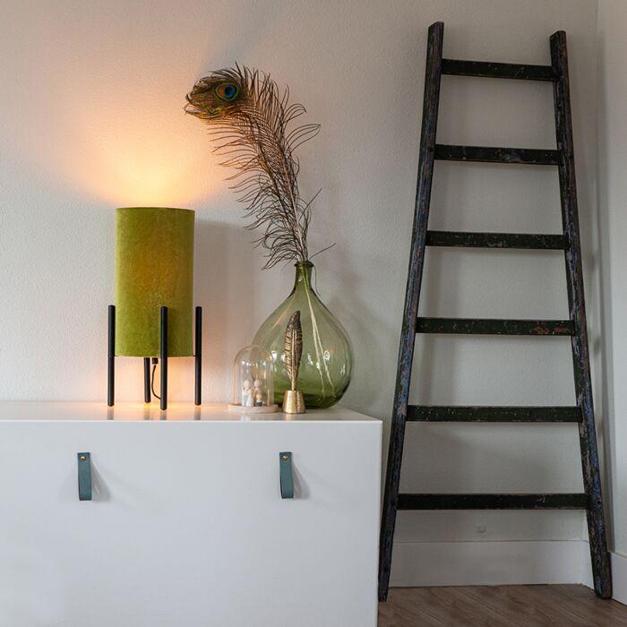 Дизайнерска-настолна-лампа-черен-кадифен-нюанс-зелено-със-злато---Rich