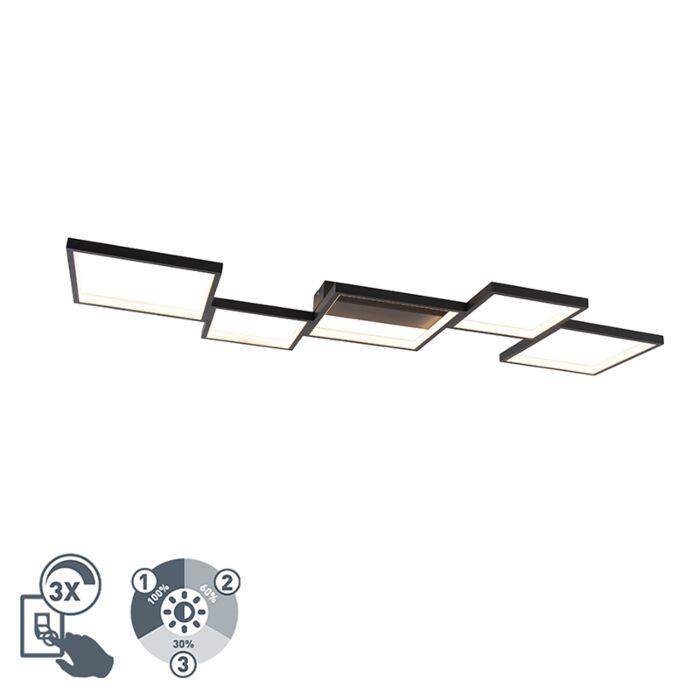 Таванна-лампа-черна-5-светлинна-с-LED-димиране---Lejo