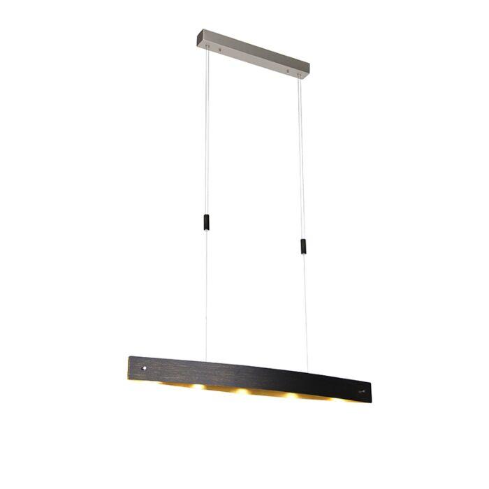 Модерна-висяща-лампа-черна-със-злато-с-LED-и-сензор-за-докосване---Lio