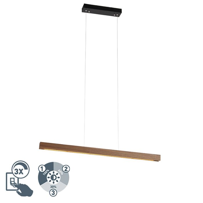 Moderne-hanglamp-bruin-incl.-LED-4-staps-dimbaar---Holz