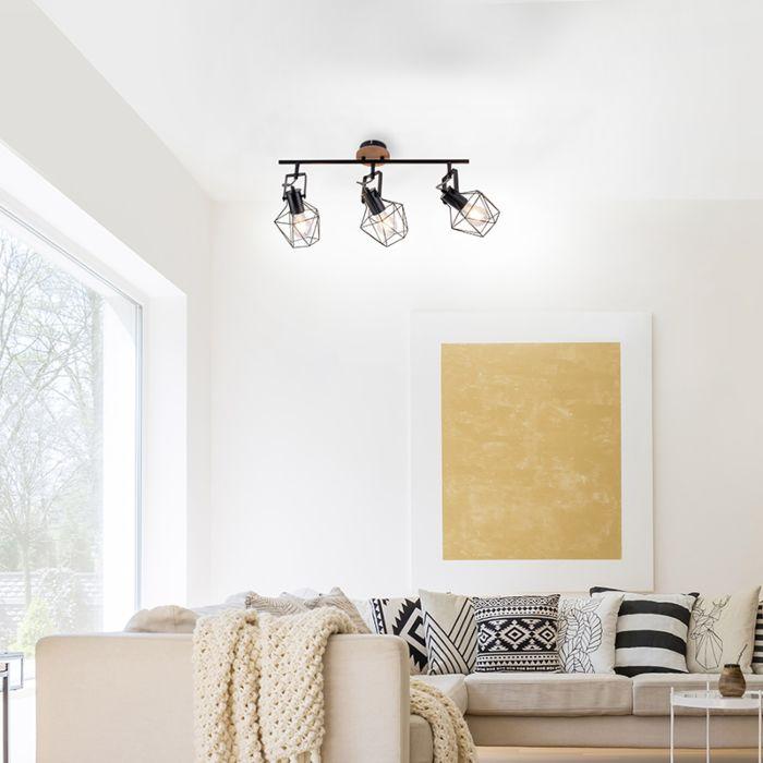 Индустриална-лампа-за-таван-черна-с-дърво-3-светлина---Sven