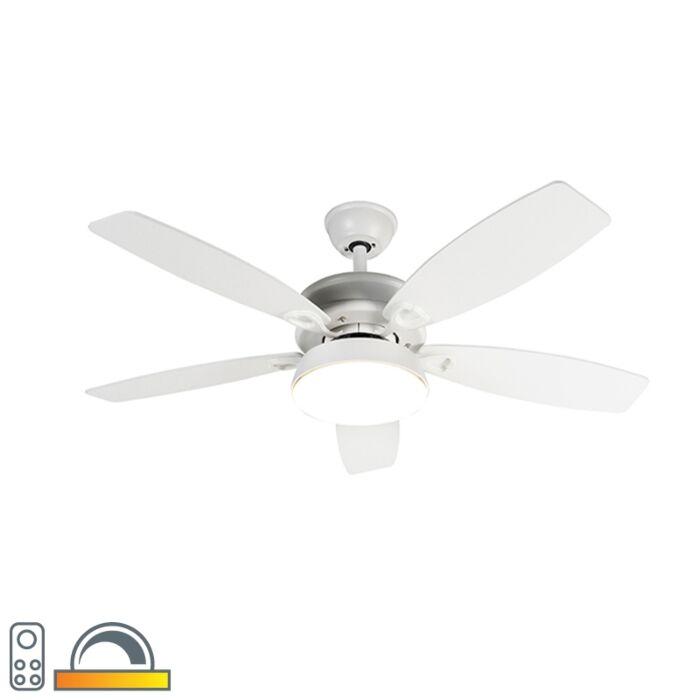 Дизайнерски-вентилатор-за-таван-бял-с-LED-с-дистанционно-управление---Malaki