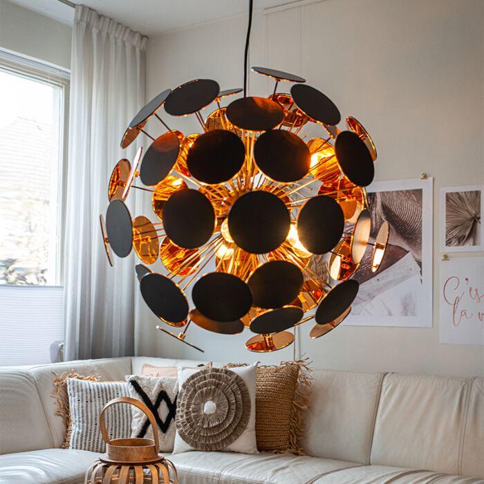 Дизайнерска-висяща-лампа-черна-със-злато---Cerchio
