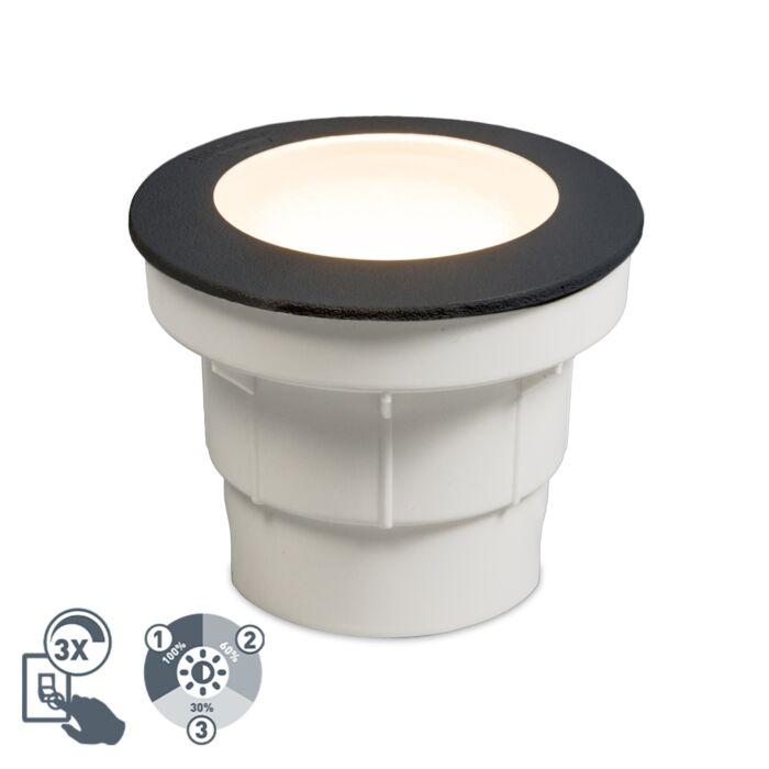 Модерно-външно-наземно-петно,-черно-с-LED-IP67---Ceci