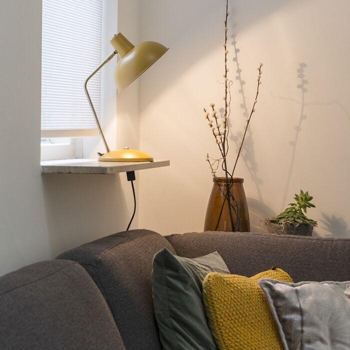 Ретро-лампа-за-маса-жълта-с-бронз---Milou