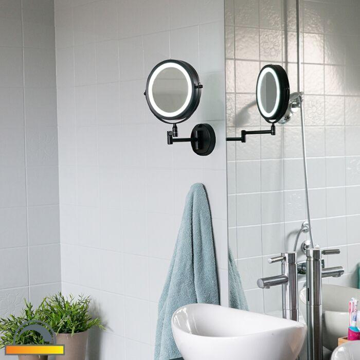 Дизайнерско-огледало-за-баня-черно-с-LED-регулируем-IP44---Vicino