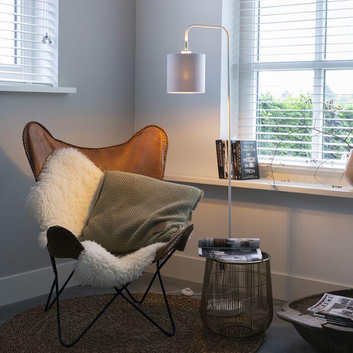Модерна-подова-лампа-бяла---Lofty