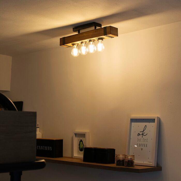 Индустриална-лампа-за-таван-дърво-със-стомана---Reena