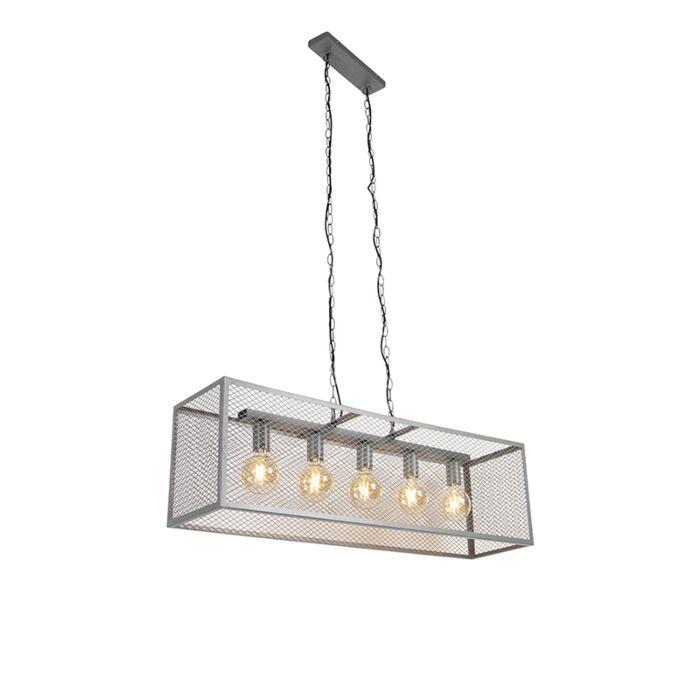 Индустриална-висяща-лампа-антично-сребро-5-светлина---Клетка-Robusto
