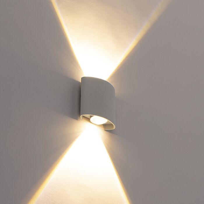 Дизайнерска-външна-стенна-лампа,-сребърна,-включително-LED-2-лампи---глупаво
