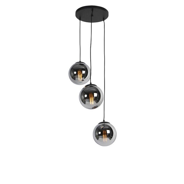 Висяща-лампа-Art-Deco-черна-с-димно-стъкло-3-светлина---Pallon
