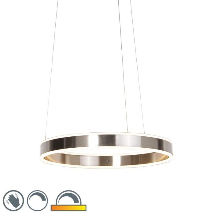 Модерна-висяща-лампа-стомана-с-LED-60-см-затъмнена-до-топла---Ollie