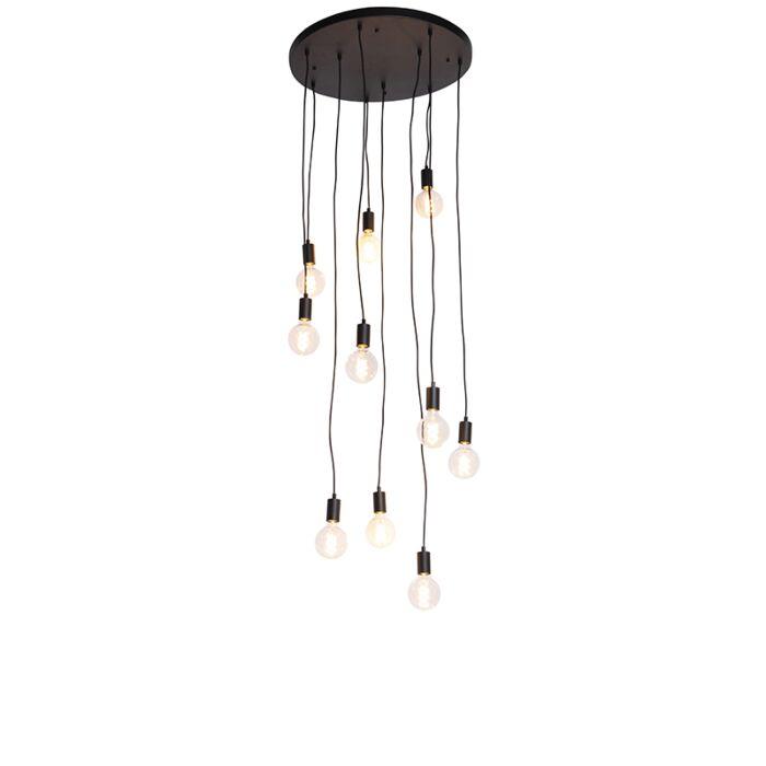 Модерна-висяща-лампа-черна-60-см-10-светлини---Facil