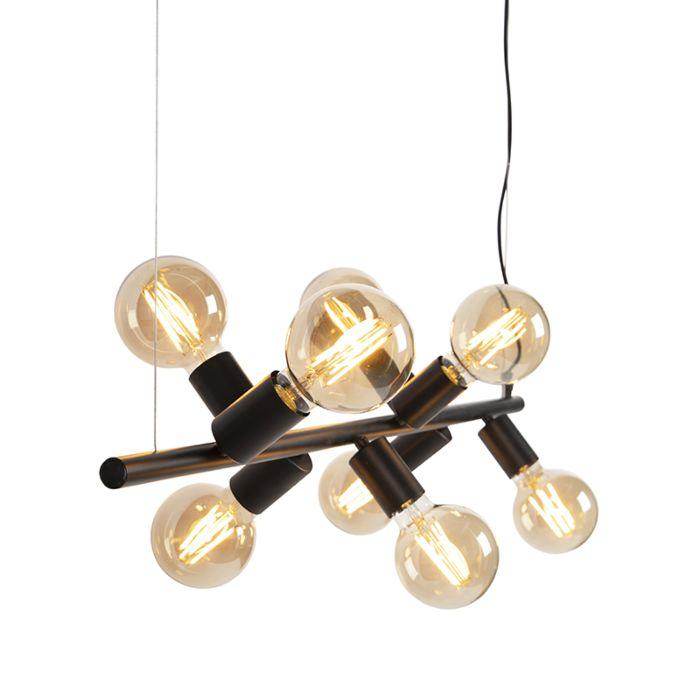 Скандинавска-висяща-лампа-черна-8-светлина---Facil-Tube