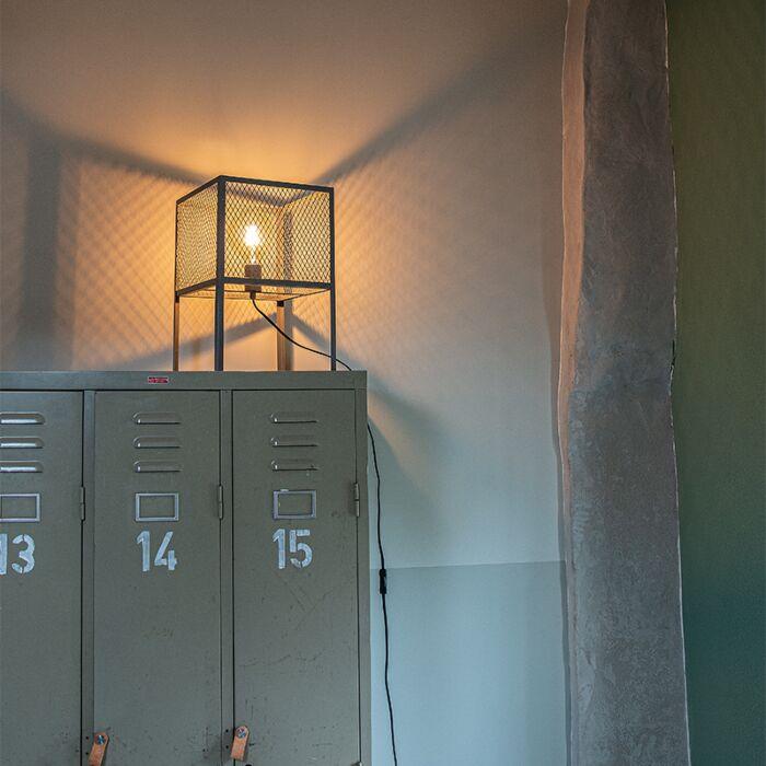 Индустриална-настолна-лампа-антично-сребро---Cage-Robusto