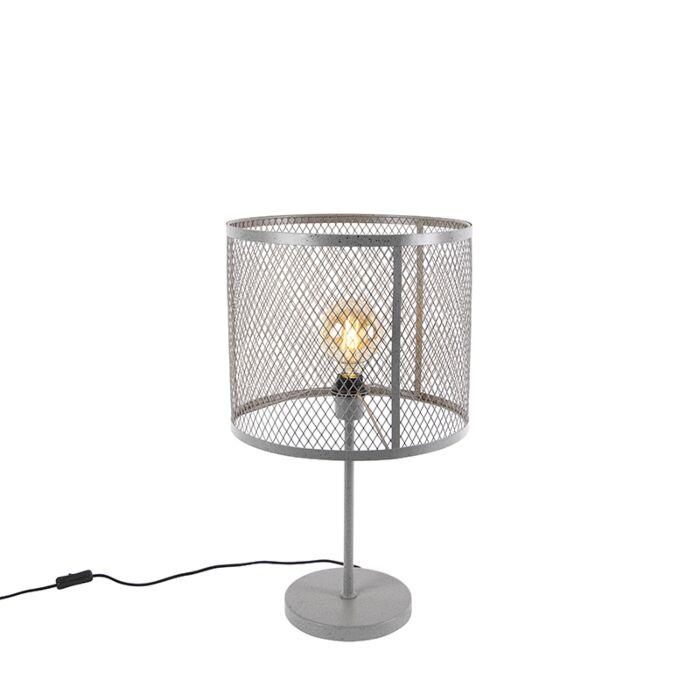 Индустриална-лампа-за-кръгла-маса-антично-сребро---Cage-Robusto