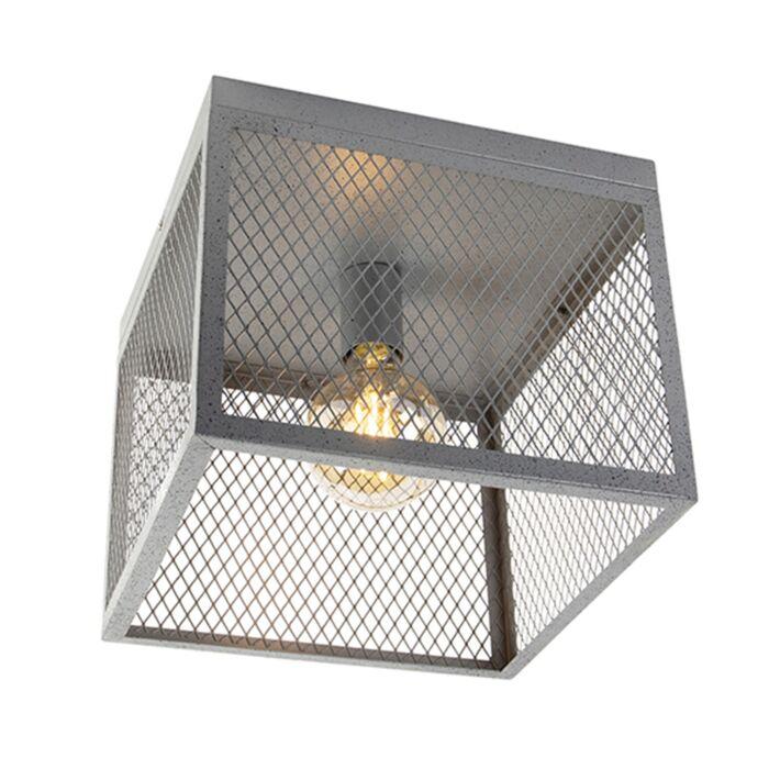 Индустриална-лампа-за-таван-антично-сребро---Cage-Robusto