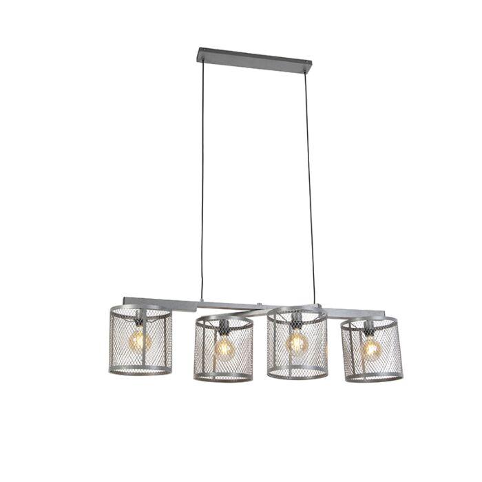 Индустриална-висяща-лампа-антично-сребро-4-светлина---Клетка-Robusto